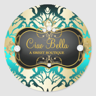 311 Jet Black Ciao Bella Aqua Sass Classic Round Sticker