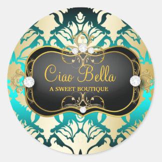 311 Jet Black Ciao Bella Aqua Sass Round Stickers
