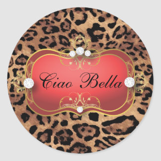 311 Jet Red Ciao Bella Leopard  Sticker