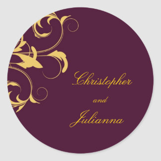 311-Julianna Eggplant & Mustard Damask Round Sticker