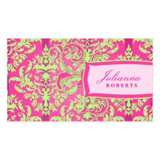 311-Julianna Lusciously Lime Pink Damask Business Cards