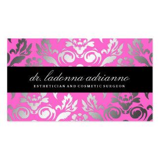 311-Ladonna Damask Pink Business Card Templates