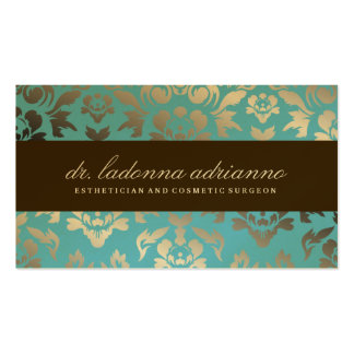 311 Ladonna Damask Teal Metallic Double-Sided Standard Business Cards (Pack Of 100)