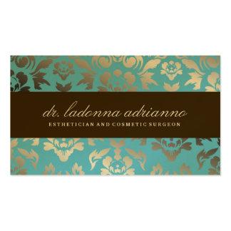 311 Ladonna Damask Teal Metallic Business Card Template