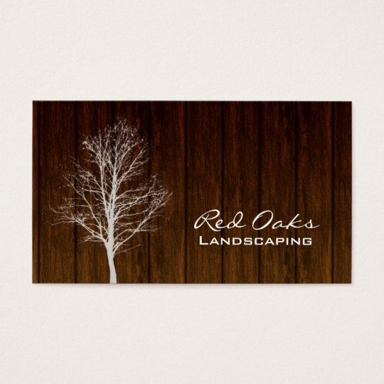 311 Landscaping Business Card Wood Tree White Oak