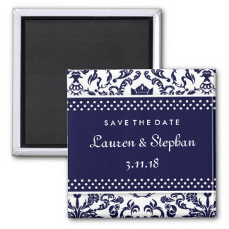 311-Lauren Damask Save the Date Navy Magnet