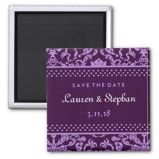 311-Lauren Damask Save the Date Purple Magnet