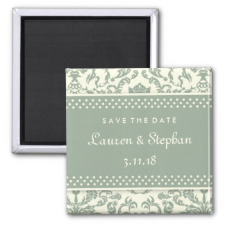 311-Lauren Damask Save the Date Sage Cream Square Magnet