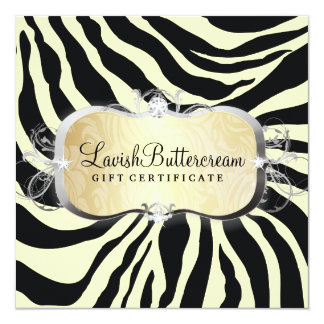 311 Lavish Buttercream Zebra Gift Certificate 13 Cm X 13 Cm Square Invitation Card