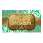 311 Lavish Golden Damask Shimmer Turquoise Pack Of Standard Business Cards