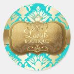 311 Lavish Golden Damask Shimmer Turquoise Round Sticker