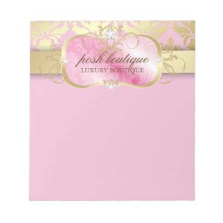 311 Lavish Pink Platter Gold Damask Notepad