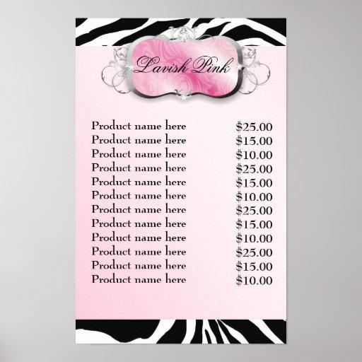 311-Lavish Pink Platter Zebra Price List Poster