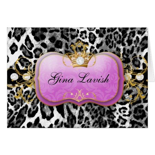 311-Lavish Purple Leopard with Diamonds Card