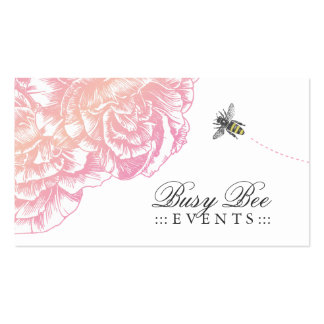 311-Le Plush Fleur with Bee - Creamy Pink Business Card Templates