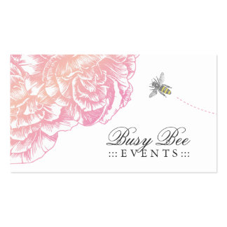 311-Le Plush Fleur with Bee - Creamy Pink Double-Sided Standard Business Cards (Pack Of 100)