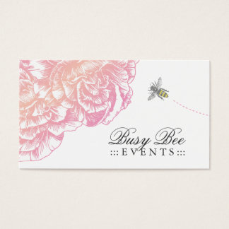 311-Le Plush Fleur with Bee - Creamy Pink Business Card