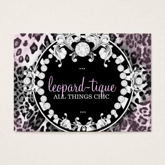 311 Leopard-Tique with Diamonds Pink Fade Business Card
