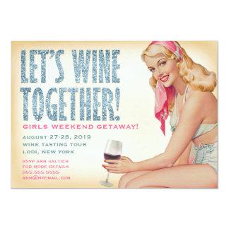 311 Let's Wine Together Retro Pinup Girl 13 Cm X 18 Cm Invitation Card