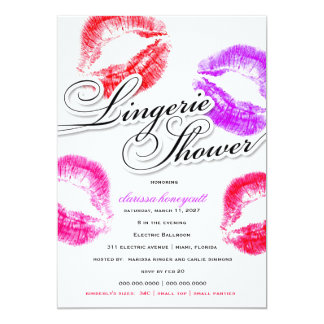311 Lingerie Shower Colorful Kisses Card