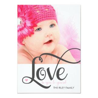 311 Love Gray Script Photo Valentine 13 Cm X 18 Cm Invitation Card