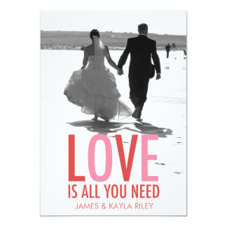 311 Love is All You Need Newlywed Photo Valentine 13 Cm X 18 Cm Invitation Card