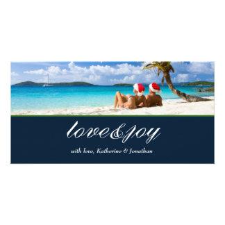311-Love & Joy Custom Photo Navy Blue Photo Card Template
