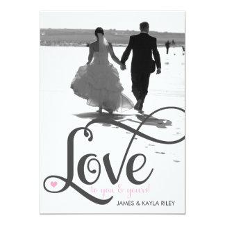 311 Love Script Photo Valentine 13 Cm X 18 Cm Invitation Card