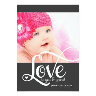 311 Love White Script Photo Valentine 13 Cm X 18 Cm Invitation Card