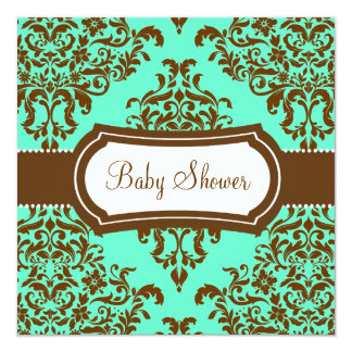311 Lovey Dovey Damask Baby Shower Mint Chocolate 13 Cm X 13 Cm Square Invitation Card