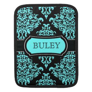 311 Lovey Dovey Damask Turquoise Black iPad Sleeve