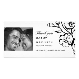 311-Lush Black & White Thank you Photo Greeting Card