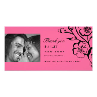 311-Lush Pink Black Thank you Personalized Photo Card