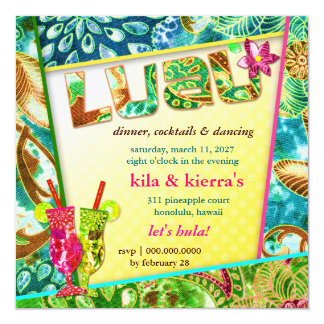 "311-Lushious Luau Invitation Linen 5.25"" Square Invitation Card"