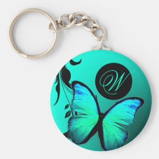 311 Lustrous Butterfly Turquoise Blue Basic Round Button Key Ring