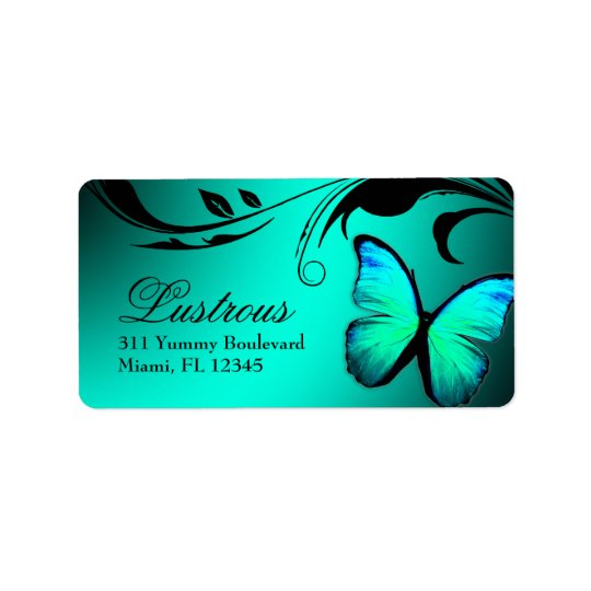 311 Lustrous Butterfly Turquoise Blue Label Address Label