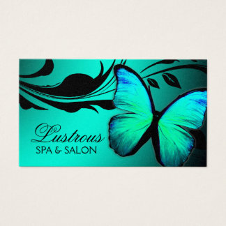 311 Lustrous Butterfly Turquoise Silver Metallic Business Card