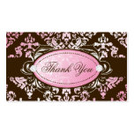 311-Luxuriously Pink Brown Damask Thank You Tags Business Card Templates