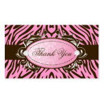 311-Luxuriously Pink Brown Zebra Thank You Tags Business Cards