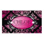 311-Luxuriously Pink Damask Monogram Business Card