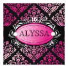 311 Luxuriously Pink Damask Sweet 16 Card