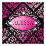 311 Luxuriously Pink Damask Sweet 16 5.25x5.25 Square Paper Invitation Card