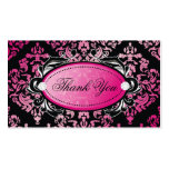 311 Luxuriously Pink Damask Thanks You Hang Tags Business Cards