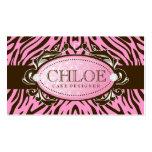 311 Luxuriously Pink N Brown Zebra Monogram Business Card