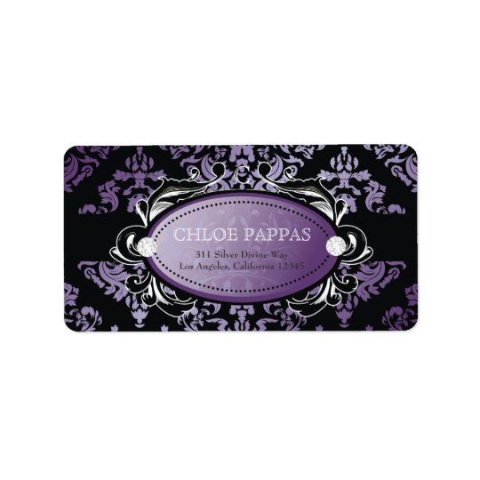 311 Luxuriously Purple Damask Label