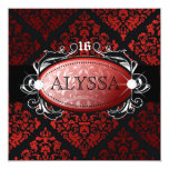 311 Luxuriously Red Liquorice Damask Sweet 16 5.25x5.25 Square Paper Invitation Card