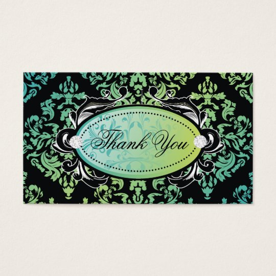 311-Luxuriously Turquoise Damask Thank You Tags