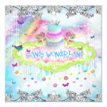311 Magical Candy Wonderland Silver Trim Personalized Invitation