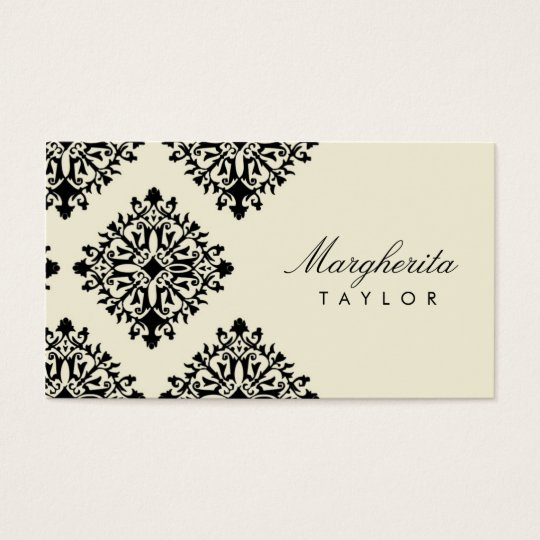 311 Margherita Cream et Blanc Damask Business Card