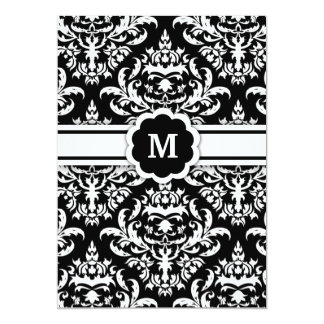311-Marissa Monogram Damask Black 13 Cm X 18 Cm Invitation Card
